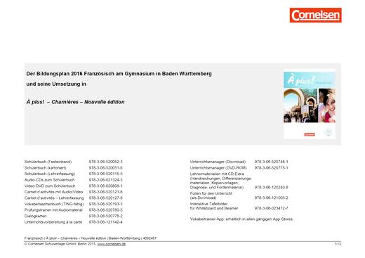 À plus ! - Bildungsplan 2016 Französisch Gymnasium Baden Württemberg - À plus ! Charnières  – Nouvelle édition - Synopse