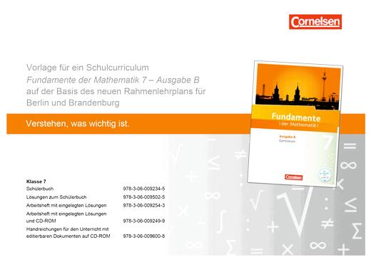 Fundamente der Mathematik - Fundamente der Mathematik - Schulcurriculum 7 - Synopse - 7. Schuljahr