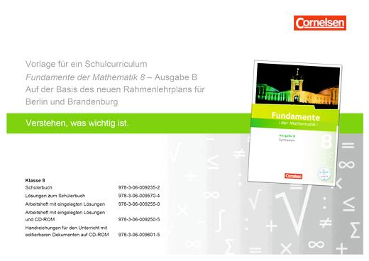 Fundamente der Mathematik - Fundamente der Mathematik - Schulcurriculum 8 - Synopse - 8. Schuljahr