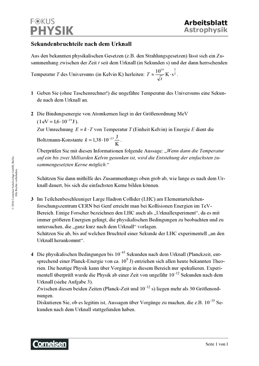 Fokus Physik Sekundarstufe II - Fokus Physik S2- Arbeitsblätter zur Astrophysik – Sekundenbruchteile nach dem Urknall - Arbeitsblatt - Oberstufe
