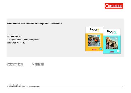 Ecco - Ecco: Grammatik- und Themenübersicht Band 1 und 2 - Synopse - Band 1