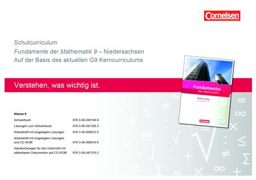 Fundamente der Mathematik - Schulcurriculum 9 für Fundamente der Mathematik Niedersachsen - Synopse - 9. Schuljahr