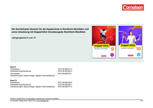 Doppel-Klick - Doppel-Klick Grundausgabe Nordrhein-Westfalen 9 und 10 / Planungshilfe für Hauptschulen in Nordrhein-Westfalen - Synopse - 10. Schuljahr