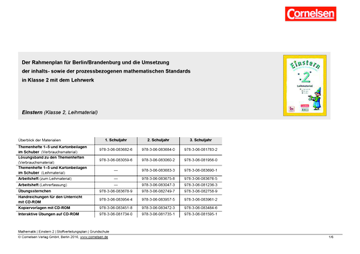 Einstern - Synopse RLP Berlin/Brandenburg  - Einstern 2 Leihmaterial - Synopse - Band 2