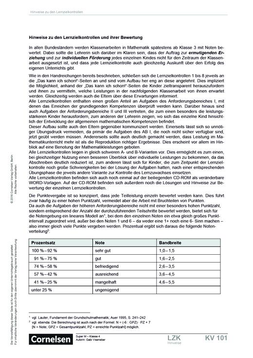 Super M - Lernzielkontrollen zu den Schülerbuchseiten 4-25 Klasse 4 - Lernstandserhebung - 4. Schuljahr