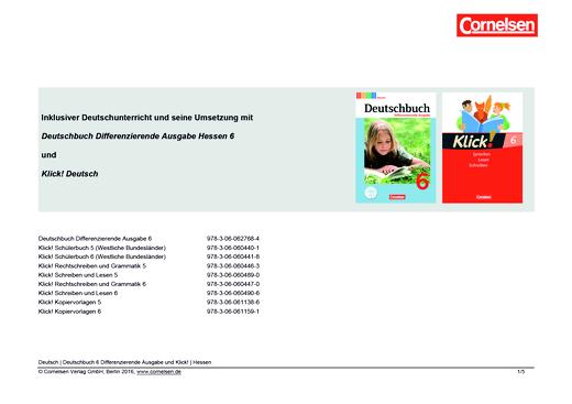 Klick! Deutsch - Inklusiver Unterricht mit dem Deutschbuch Differenzierende Ausgabe - Synopse für Hessen - 6. Schuljahr