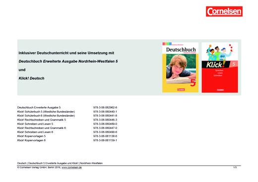 Klick! Deutsch - Inklusiver Unterricht mit dem Deutschbuch Erweiterte Ausgabe Nordrhein-Westfalen und Klick! Deutsch in Klasse 5 - Stoffverteilungsplan - 5. Schuljahr