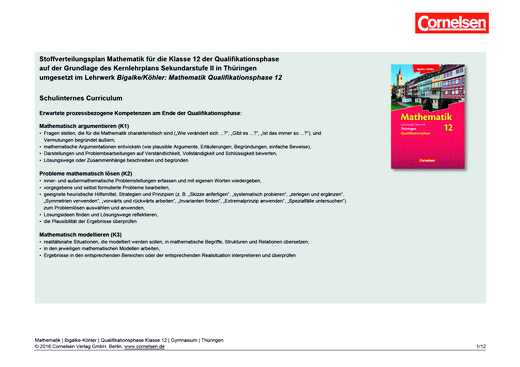 Bigalke/Köhler: Mathematik - Stoffverteilungsplan: Bigalke/Köhler Mathematik Thüringen - Qualifikationsphase 12 - Stoffverteilungsplan - 12. Schuljahr