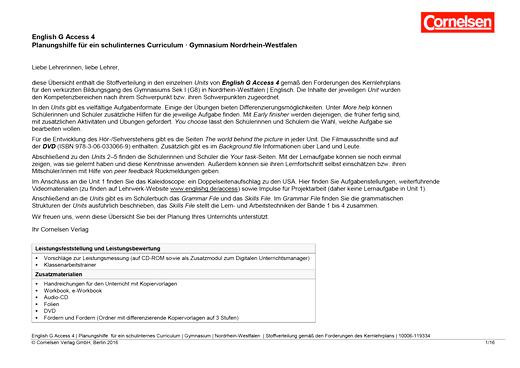 English G Access - Synopse für Nordrhein-Westfalen - Band 4: 8. Schuljahr