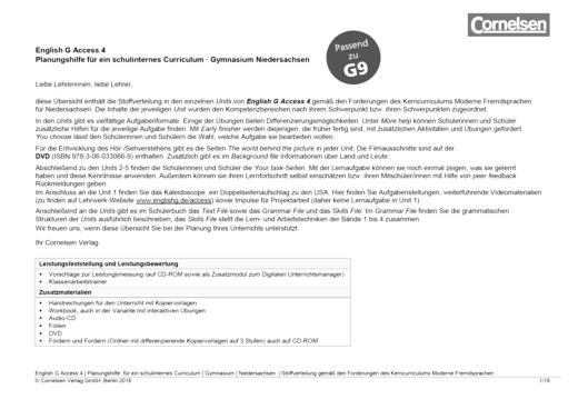 Access - Synopse für Niedersachsen - Band 4: 8. Schuljahr