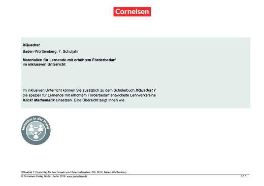 XQuadrat - Materialeinsatz für einen inklusiven Unterricht in Baden-Württemberg Klasse 7 - Synopse - 7. Schuljahr
