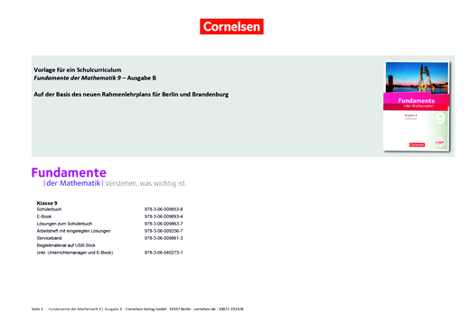 Fundamente der Mathematik - Fundamente der Mathematik Ausgabe B Schulcurriculum 9 - Synopse - Webshop-Download