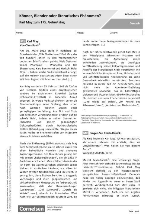 Könner, Blender oder literarisches Phänomen? Karl May zum 175. Geburtstag - Arbeitsblatt - Webshop-Download