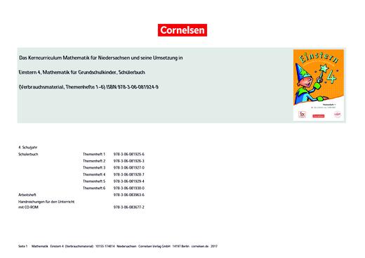 Einstern - Einstern 4 Verbrauchsmaterial – Synopse zum neuen Kerncurriculum für Niedersachsen - Synopse - Band 4