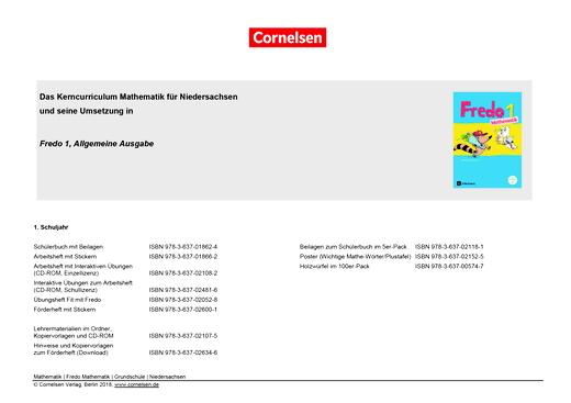 Fredo - Mathematik - Fredo 1 – Synopse zum neuen Kerncurriculum für Niedersachsen - Synopse - 1. Schuljahr