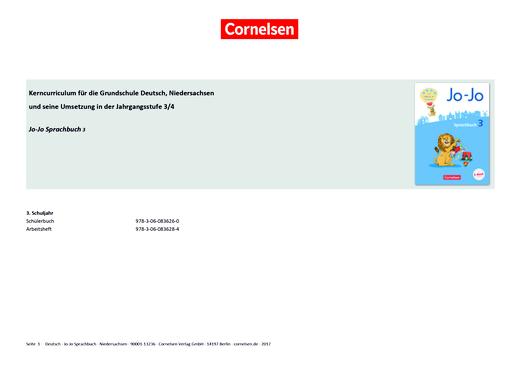 Jo-Jo Sprachbuch - Jo-Jo Sprachbuch 3 – Synopse zum neuen Kerncurriculum für Niedersachsen - Synopse - 3. Schuljahr