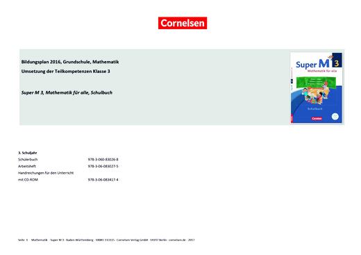 Super M - Synopse zum Bildungsplan Baden-Württemberg - 3. Schuljahr