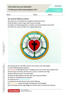 Die Lutherrose zum Ausmalen - Arbeitsblatt