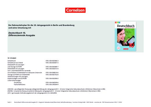Deutschbuch - Planungshilfe für Berlin und Brandenburg - 10. Schuljahr