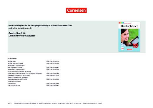 Deutschbuch - Planungshilfe - 10. Schuljahr