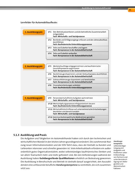 Automobilkaufleute - Korrektur Inhaltsseite 55 der Fachkunde 1 Automobilkaufleute: Lernfeld – Fach – Zuordnung. - Korrekturseiten - Band 1: Lernfelder 1-4