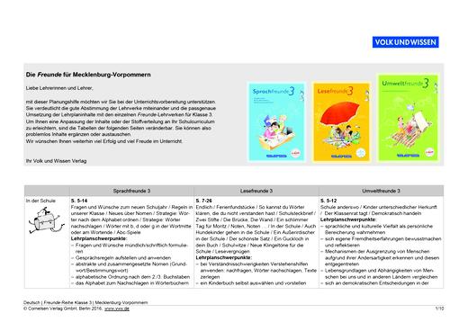 Umweltfreunde - Planungshilfe Sprach-, Lese- und Umweltfreunde 3 Mecklenburg-Vorpommern - Planungshilfe - 3. Schuljahr