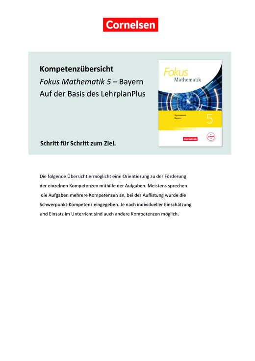 Fokus Mathematik - Kompetenzübersicht auf Basis des LehrplanPLUS - Stoffverteilungsplan - 5. Jahrgangsstufe