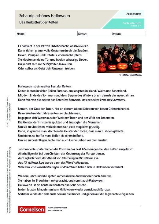 Schaurig-schönes Halloween - Das Herbstfest der Kelten - Arbeitsblatt