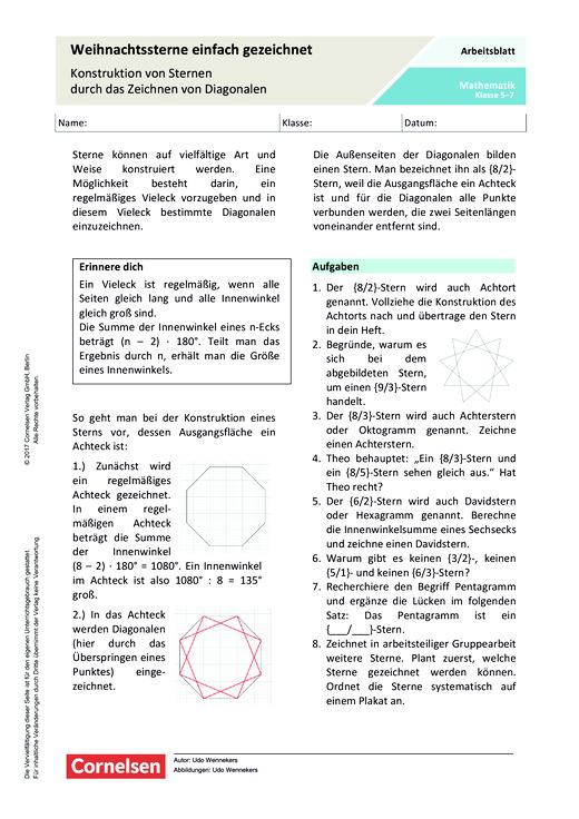 Weihnachtssterne einfach gezeichnet – Konstruktion von Sternen durch das Zeichnen von Diagonalen - Arbeitsblatt