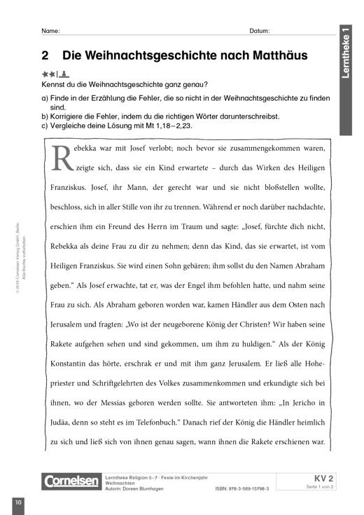 Lerntheke - Die Weihnachtsgeschichte nach Matthäus - Arbeitsblatt