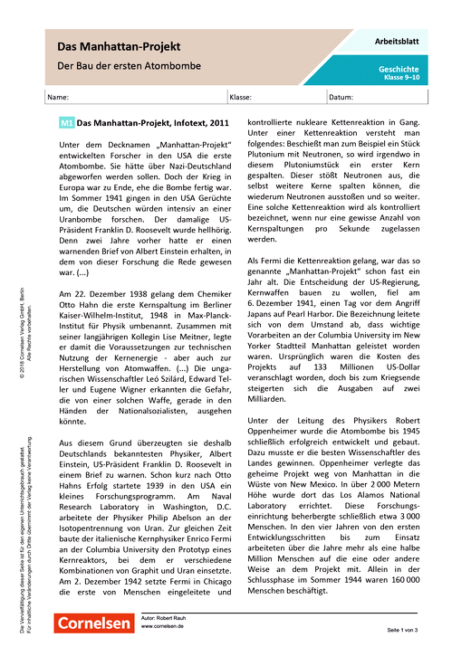 Das Manhatten-Projekt: Der Bau der ersten Atombombe - Arbeitsblatt