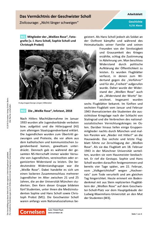 Das Vermächtnis der Geschwister Scholl. - Arbeitsblatt - Webshop-Download