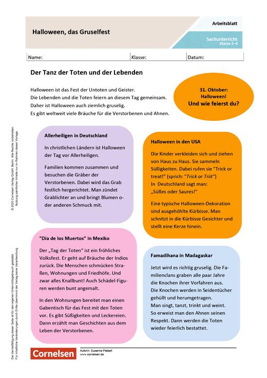 Halloween - das Gruselfest - Arbeitsblatt mit Lösungen