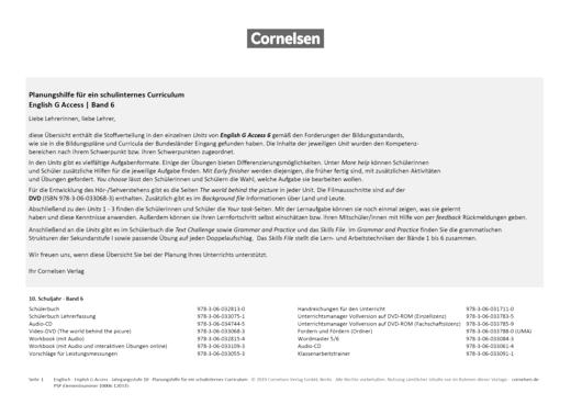 English G Access - Planungshilfe für ein schulinternes Curriculum - Band 6: 10. Schuljahr