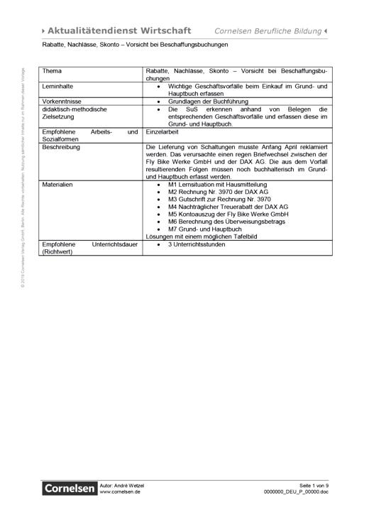 Lernsituation: Rabatte, Nachlässe, Skonto – Vorsicht bei Beschaffungsbuchungen - Arbeitsblatt