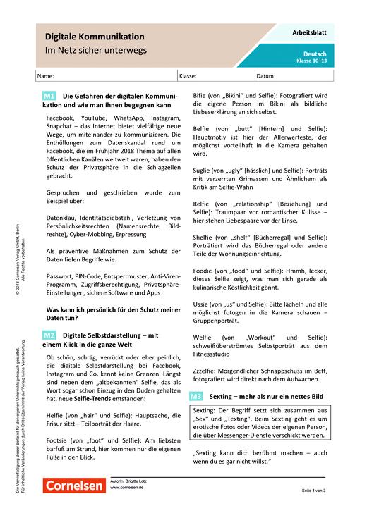 Digitale Kommunikation - Im Netz sicher unterwegs - Arbeitsblatt mit Lösungen