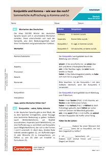 Konjunktiv und Komma – wie war das noch? Sommerliche Auffrischung zu Komma und Co. - Arbeitsblatt mit Lösungen