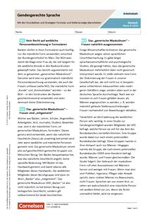 Gendergerechte Sprache - Mit den Grundsätzen und Strategien Formular und Stellenanzeige überarbeiten - Arbeitsblatt mit Lösungen