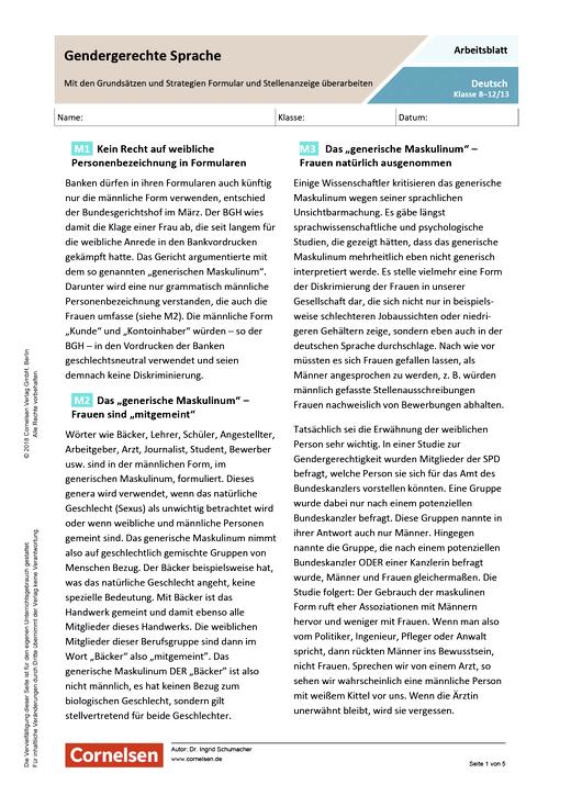 Gendergerechte Sprache - Mit den Grundsätzen und Strategien Formular und Stellenanzeige überarbeiten - Arbeitsblatt mit Lösungen - Webshop-Download