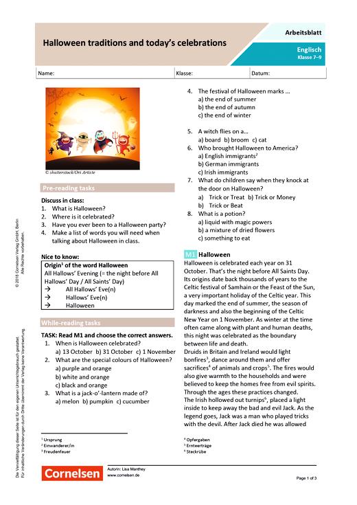 Halloween traditions and today's celebrations - Arbeitsblatt mit Lösungen - Webshop-Download