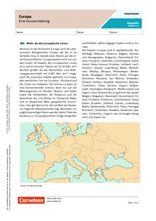 Europa - Eine Kurzvorstellung - Arbeitsblatt mit Lösungen