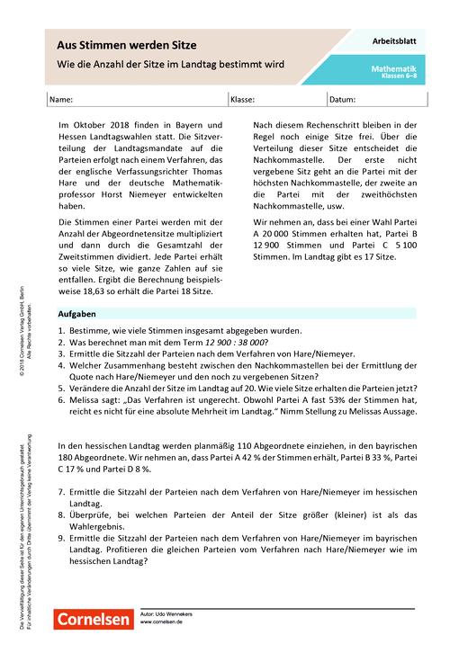Aus Stimmen werden Sitze - Wie die Anzahl der Sitze im Landtag bestimmt wird - Arbeitsblatt mit Lösungen