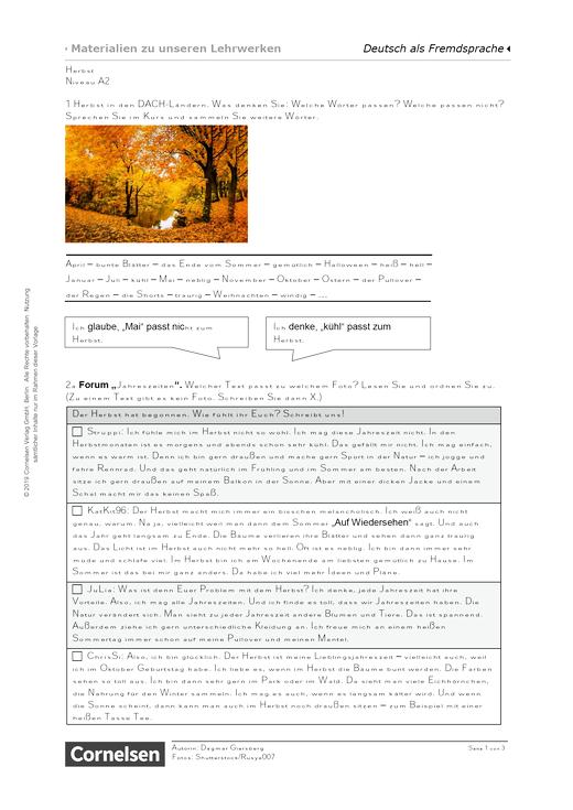 Herbst (A2) - Arbeitsblatt