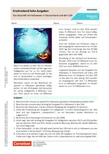 Erschreckend hohe Ausgaben - Das Geschäft mit Halloween in Deutschland und den USA - Arbeitsblatt mit Lösungen