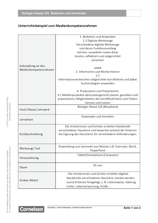 Unterrichtsbeispiel Biosphäre Klasse 5 und 6 in Nordrhein Westfalen - Bedienen und Anwenden - Unterrichtsbeispiel Medienkompetenzrahmen - Webshop-Download
