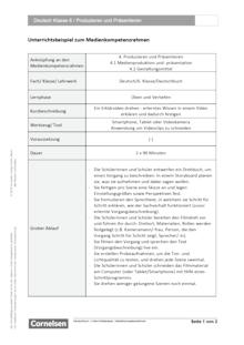 Unterrichtsbeispiel Deutschbuch Klasse 6 in Nordrhein Westfalen - Produzieren und Präsentieren - Unterrichtsbeispiel Medienkompetenzrahmen