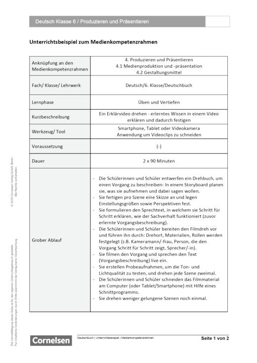 Unterrichtsbeispiel Deutschbuch Klasse 6 in Nordrhein Westfalen - Produzieren und Präsentieren - Unterrichtsbeispiel Medienkompetenzrahmen - Webshop-Download