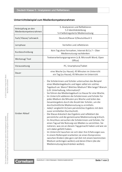 Unterrichtsbeispiel Deutschbuch Klasse 5 in Nordrhein Westfalen - Analysieren und Reflektieren - Unterrichtsbeispiel Medienkompetenzrahmen