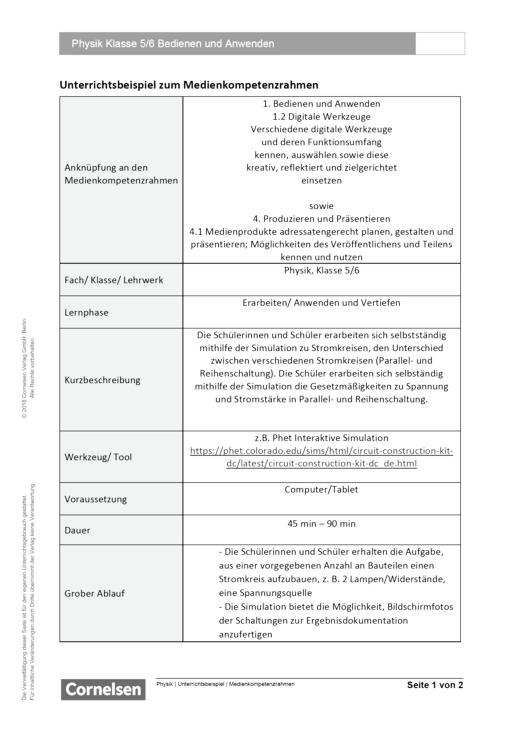 Unterrichtsbeispiel Physik Klasse 5 und 6 in Nordrhein Westfalen - Bedienen und Anwenden - Unterrichtsbeispiel Medienkompetenzrahmen
