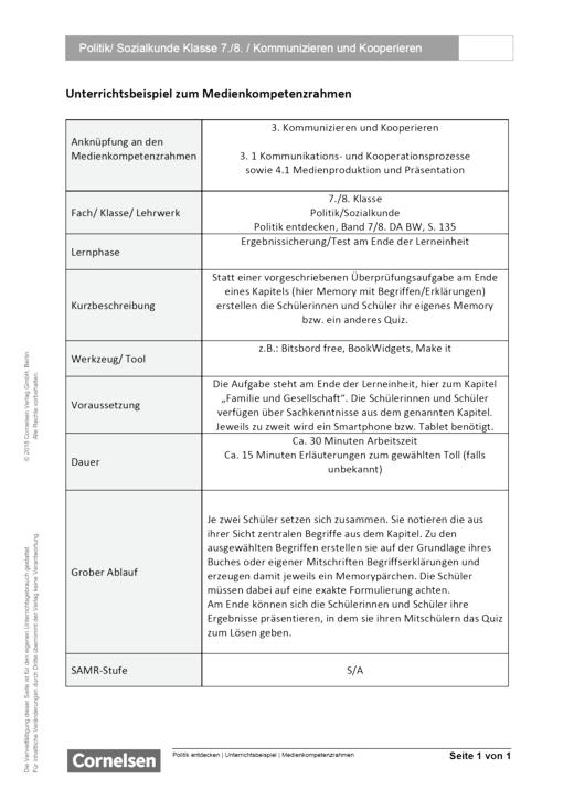 Unterrichtsbeispiel Politik entdecken 7 und 8 in Nordrhein Westfalen - Kommunizieren und Kooperieren - Unterrichtsbeispiel Medienkompetenzrahmen